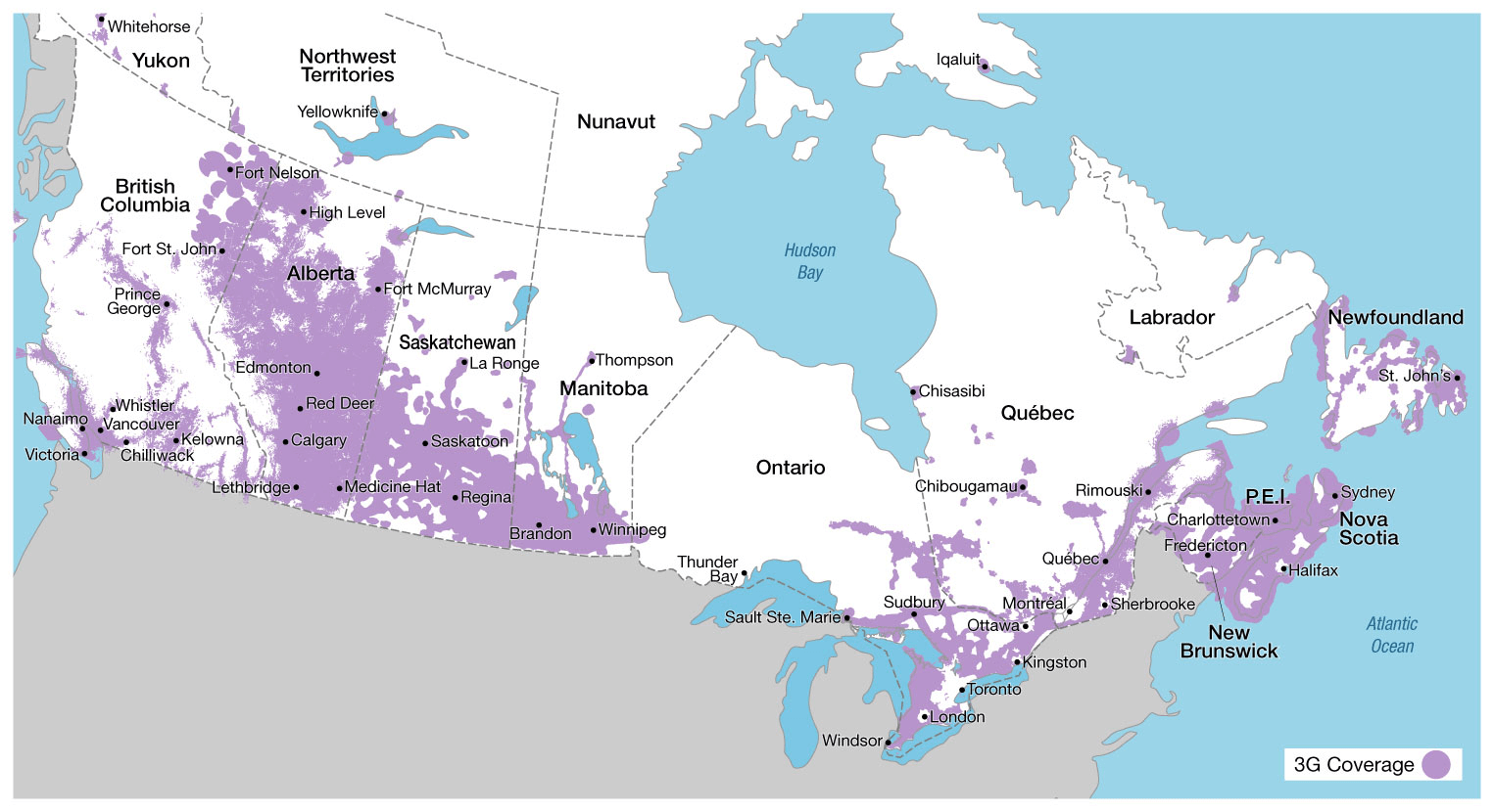 Canada Wireless Coverage Map Canadian Network Coverage – National Carriers | Canadian Spectrum